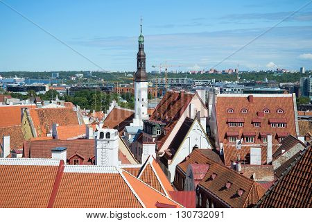 The steeple of the old church and the roofs of old Tallinn sunny summer day