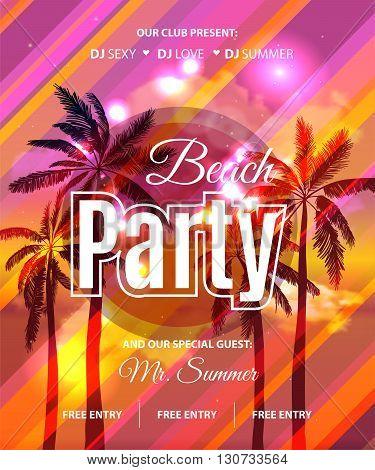 Summer Beach Party Flyer - Vector Design. Eps 10