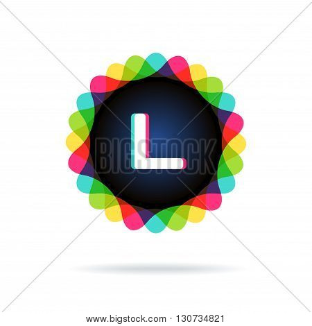 Retro bright colors Logotype, Letter L, isolated on white