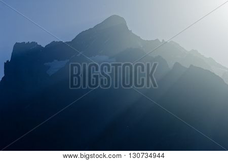 Swiss Alps - snow capped mountains and deep valleys stunning view breath-taking panorama, Wetterhorn