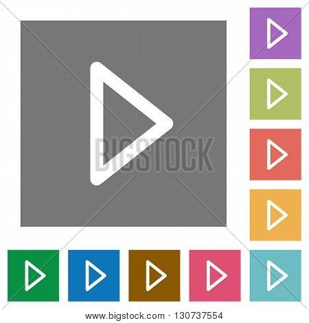 Media play flat icon set on color square background.