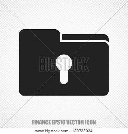 The universal vector icon on the finance theme: Black Folder With Keyhole. Modern flat design. For mobile and web design. EPS 10.