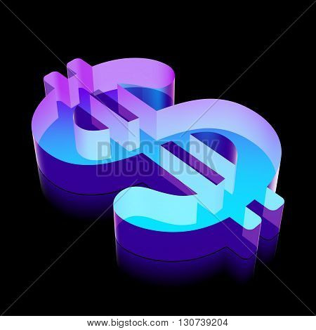 Banking icon: 3d neon glowing Dollar made of glass with reflection on Black background, EPS 10 vector illustration.
