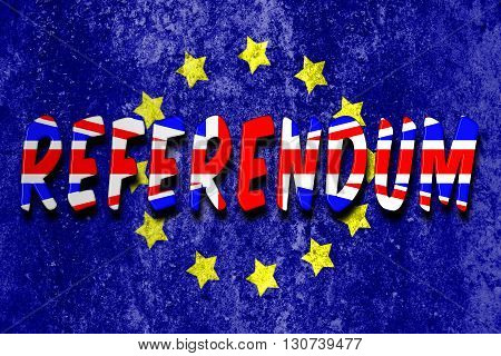 Referendum word with union jack flag on a textured Euro flag