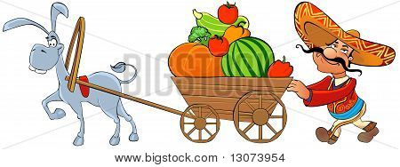 Mexican with a cart of vegetables.