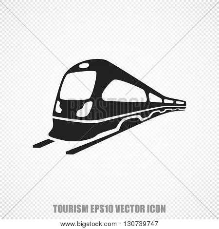 The universal vector icon on the travel theme: Black Train. Modern flat design. For mobile and web design. EPS 10.
