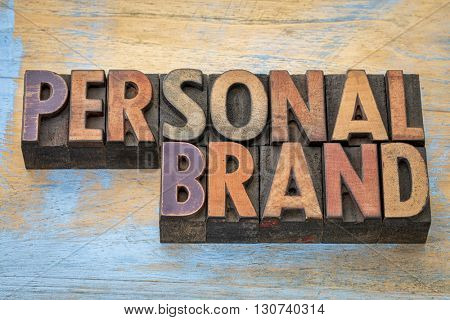 Personal brand word abstract - text in vintage letterpress wood type printing blocks