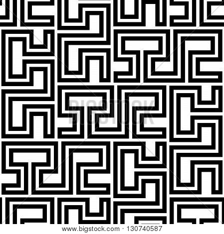Seamless geometric pattern by stripes. Modern vector background with repeating lines. Black and white geometric pattern