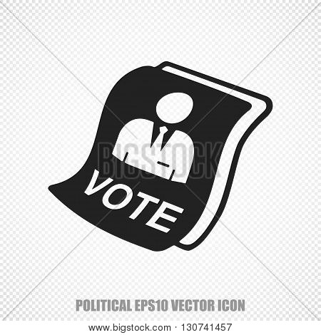 The universal vector icon on the politics theme: Black Ballot. Modern flat design. For mobile and web design. EPS 10.