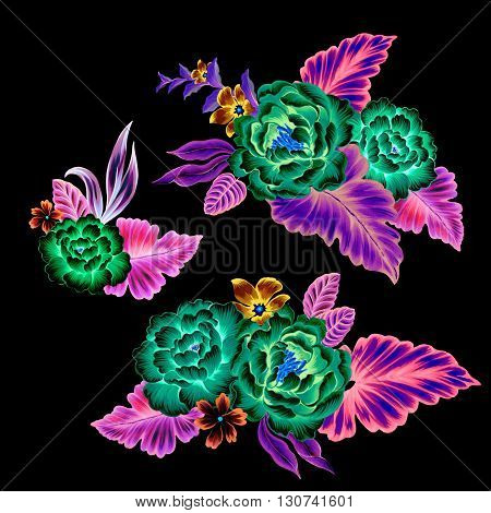 mexican flowers, neon fluorescent flowers. set of 3 bouquets on black background, with intense surreal not realistic colors.