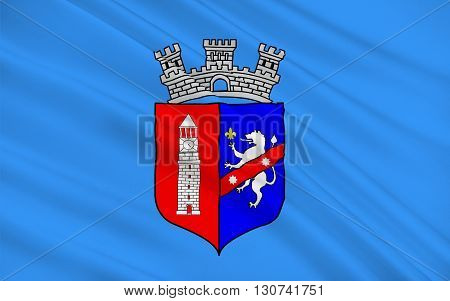 Flag of Tirana is the capital and largest city of Albania, 3D illustration