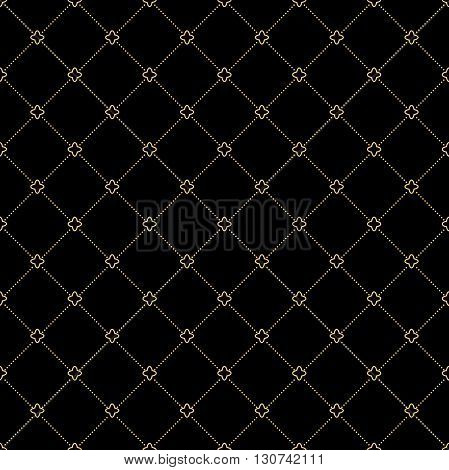 Geometric repeating vector ornament with diagonal dotted lines. Seamless abstract modern pattern. Black and golden pattern