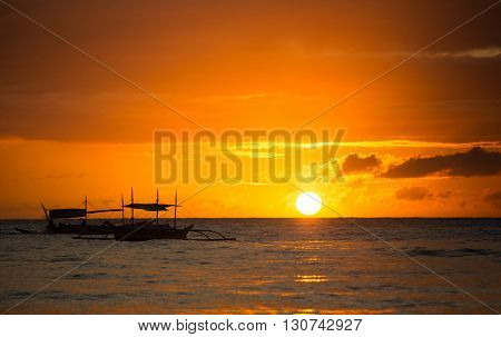 Beautiful sunset over ocean, nature background