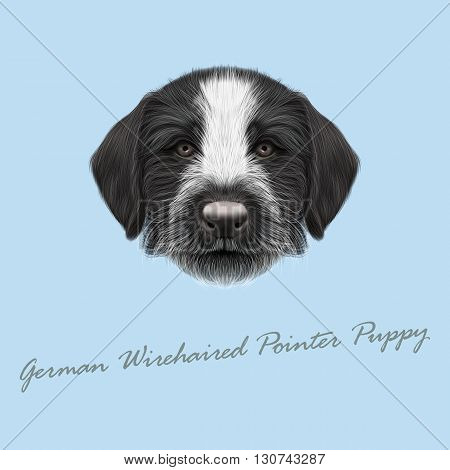 Vector Illustrated Portrait of German Wirehaired Pointer puppy. Cute brown face of hunting dog on blue background.