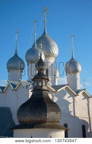 Domes of the Assumption Cathedral of the summer evening. Rostov Great, Russia