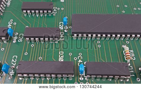 the Closeup of a big electronic circuit board