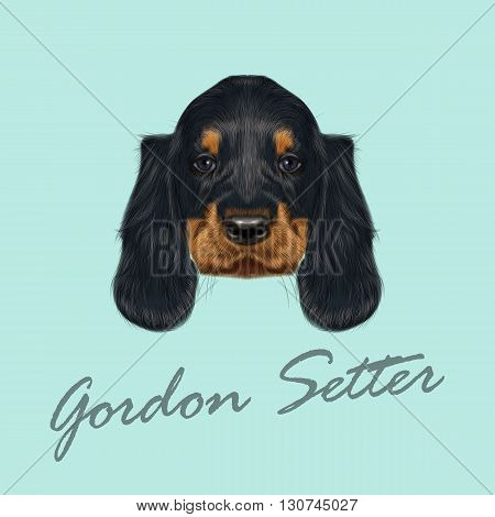 Vector Illustrated Portrait of Gordon Setter dog. Cute black curly face of domestic puppy on blue background.