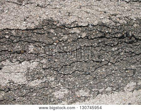 Close up asphalt road surface crackroad surface crack