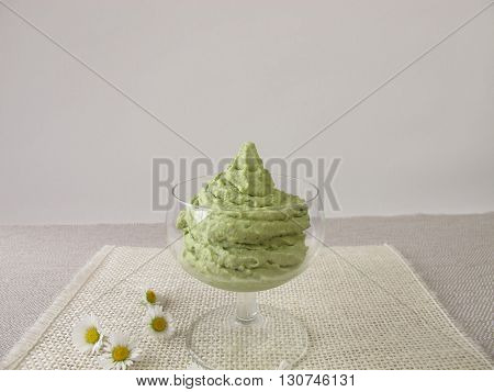 Homemade ice cream with matcha green tea