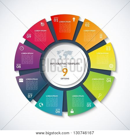 Vector circle template for infographics. Business concept with 9 options, steps, parts, segments. Banner for cycling diagram, round chart, pie chart, business presentation, annual report, web design
