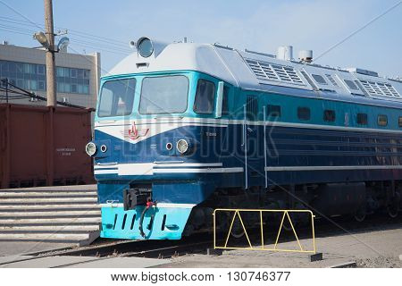 SAINT PETERSBURG, RUSSIA - MARCH 30, 2016: Cab passenger locomotive TG-102 closeup on the railway