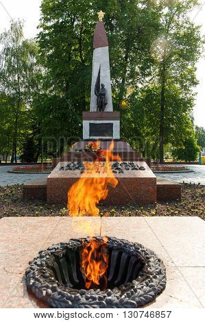HRODNA BELARUS - MAY 21 2016: Eternal Flame monument to the soldiers of World War II in Grodno Belarus