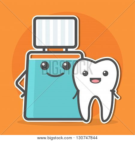 Mouthwash hugs tooth. Teeth hygiene concept. Dental vector illustration.