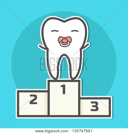 First tooth. Happy babytooth with soother on pedestal. Vector illustration