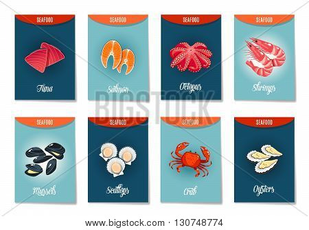 Set of AD-cards, banners, tags, package with cartoon sea food - tuna, salmon, octopus, shrimps, mussels, scallops, crab and oysters. Vector illustration, isolated on white, eps 10.