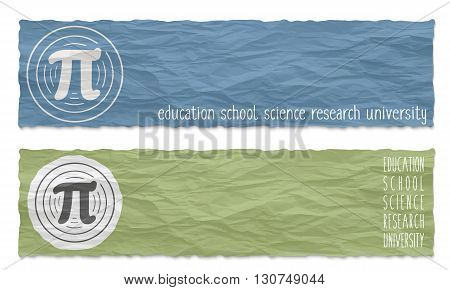 Two colored banners of crumpled paper with pi icon