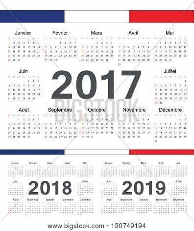 Vector French Circle Calendars 2017, 2018, 2019