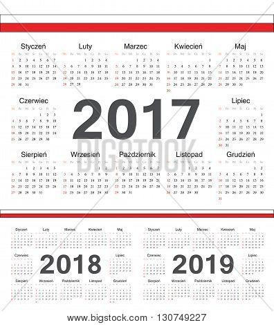Vector Polish Circle Calendars 2017, 2018, 2019