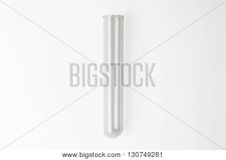 Glass transparent test tube on white background