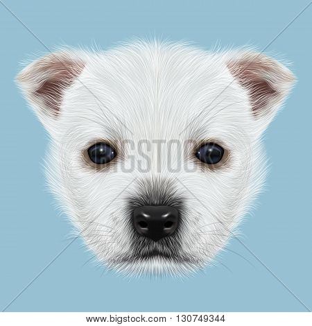 Illustrated Portrait of West Highland White Terrier. Cute white fluffy face of puppy on blue background.