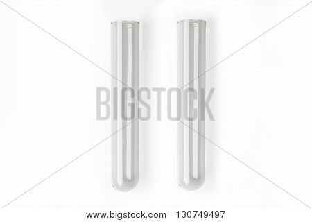 Two glass transparent test tube on white background