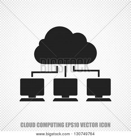 The universal vector icon on the cloud technology theme: Black Cloud Network. Modern flat design. For mobile and web design. EPS 10.