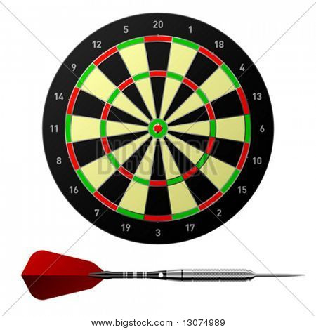 Vector dartboard with dart