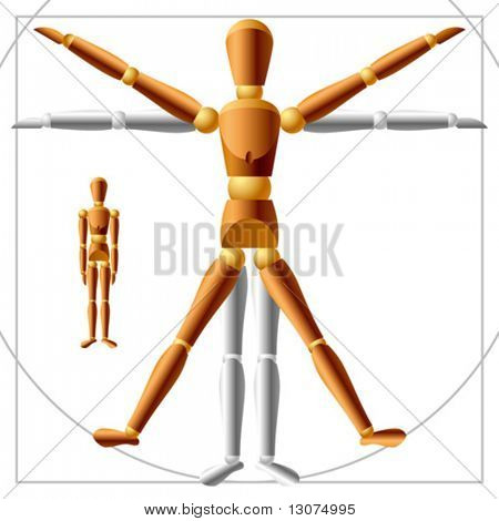 Vector wooden man with free transform