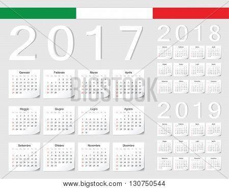 Set Of Italian 2017, 2018, 2019 Vector Calendars