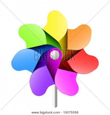 Colorful windmill. Vector.