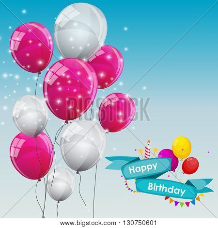 Happy Birthday Card Template with Balloons Vector Illustration EPS10
