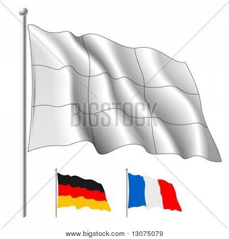 Bandera blanca de vector. Contenido horizontales y verticales de piezas separadas. Cambiar el color como usted necesita un