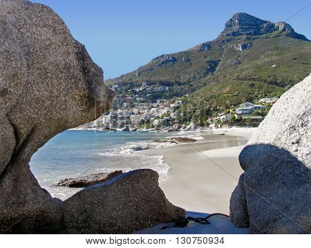 View Of Clifton Beach From Between Two Boulders, Cape Town South Africa