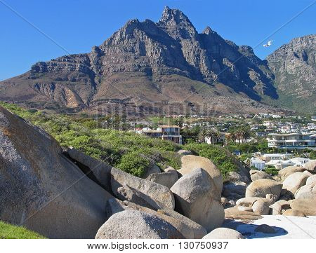 View Of Table Mountain And Huge Boulders In Fore Ground From Camps Bay, Cape Town South Africa