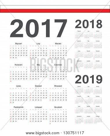 Set Of Polish 2017, 2018, 2019 Year Vector Calendars