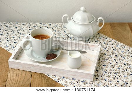 Espresso In The Cup With Milk, Biscuit And Sugar Basin
