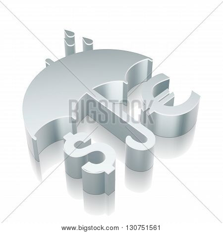 Privacy icon: 3d metallic Money And Umbrella with reflection on White background, EPS 10 vector illustration.