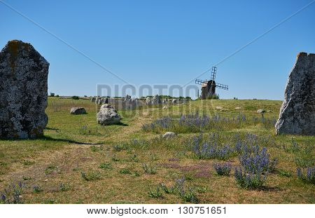 Megaliths and mill Isle if Oeland province Kalmar Sweden