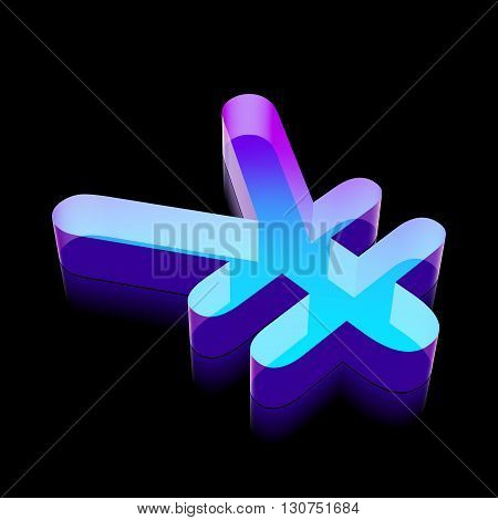 Banking icon: 3d neon glowing Yen made of glass with reflection on Black background, EPS 10 vector illustration.