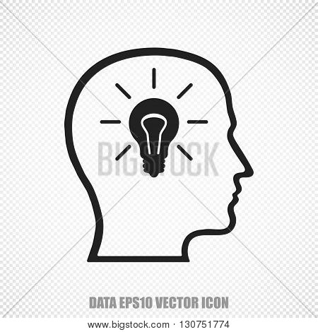 The universal vector icon on the Data theme: Black Head With Lightbulb. Modern flat design. For mobile and web design. EPS 10.